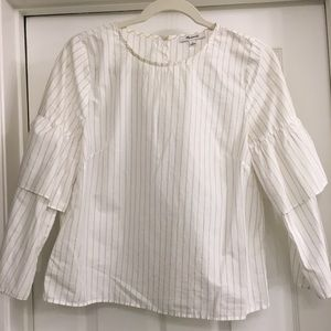 Madewell white striped blouse